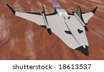 Mars Arrowhead Shuttle passing through stratospheric ice clouds - stock photo