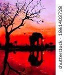 Black Silhouette Of An Elephant ...