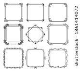 nine monochrome frames in white ... | Shutterstock .eps vector #1861414072