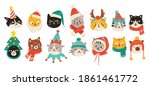 set of christmas cats wearing... | Shutterstock .eps vector #1861461772