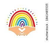 Rainbow Flag  Pride Logo  Hand...