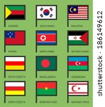 flags of the world  flat vector ... | Shutterstock .eps vector #186149612