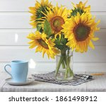 Bouquet Of Sunflowers In A...