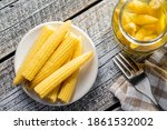 Pickled Young Baby Corn Cobs On ...
