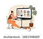 worker using computer for... | Shutterstock .eps vector #1861548685