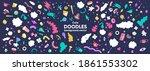 wide vector print. doodle style ... | Shutterstock .eps vector #1861553302