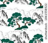 seamless pattern with pine tree | Shutterstock .eps vector #1861558522