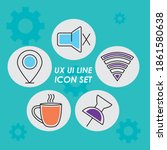 ux ui line icons set over...