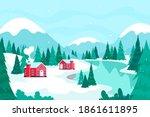winter landscape. christmas or... | Shutterstock .eps vector #1861611895