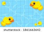 yellow rubber duck inflatable... | Shutterstock .eps vector #1861663642