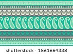seamless asian paisley border... | Shutterstock .eps vector #1861664338