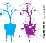 splatter potted trees   Shutterstock .eps vector #18617134