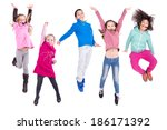 group of children jumping... | Shutterstock . vector #186171392