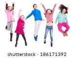 group of children jumping... | Shutterstock . vector #186171392
