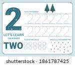 number two tracing practice... | Shutterstock .eps vector #1861787425