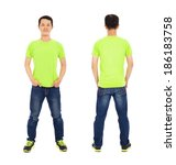 potrait of young man standing ... | Shutterstock . vector #186183758