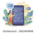 tiny woman programmer or...   Shutterstock .eps vector #1861844848