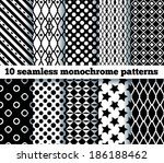 10 seamless monochrome patterns.... | Shutterstock .eps vector #186188462