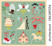 set of wedding invitation... | Shutterstock .eps vector #186189356