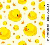 cute yellow rubber duck... | Shutterstock .eps vector #1861903165