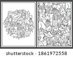 Coloring Pages Set With Cute...