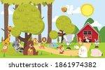 cute woodland mammals in the... | Shutterstock .eps vector #1861974382