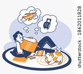 unproductive teen daydreaming... | Shutterstock .eps vector #1862011828
