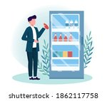 man getting cold drink from... | Shutterstock .eps vector #1862117758