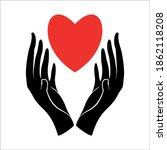 a hand design vector heart... | Shutterstock .eps vector #1862118208