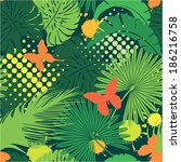 seamless pattern with palm... | Shutterstock .eps vector #186216758