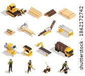 lumberjack with saw machinery... | Shutterstock .eps vector #1862172742