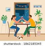 couple having romantic dinner... | Shutterstock .eps vector #1862185345