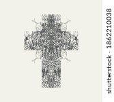 the sign of the christian cross ... | Shutterstock .eps vector #1862210038