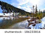 Tranquil Lake Scene With Snow...