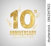 10 years anniversary cover.... | Shutterstock .eps vector #1862347822