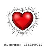 illustration with a red heart... | Shutterstock .eps vector #1862349712