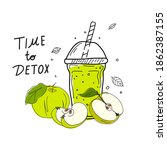 smoothies or detox cocktail day ... | Shutterstock .eps vector #1862387155