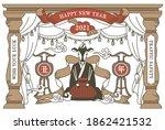 nostalgic new year's card... | Shutterstock .eps vector #1862421532