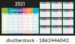 Year 2021 Desk Calendar Vector...