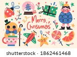 set of cute merry christmas and ... | Shutterstock .eps vector #1862461468