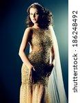 stunning woman in luxurious... | Shutterstock . vector #186248492