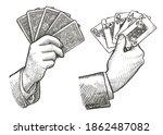 poker cards straight flush in... | Shutterstock .eps vector #1862487082