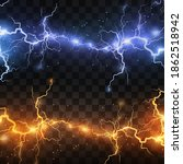 realistic lightning bolts on a... | Shutterstock .eps vector #1862518942