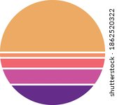 vintage retro striped sunset... | Shutterstock .eps vector #1862520322