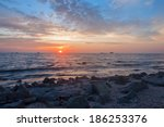 sunset on the beach with slow...   Shutterstock . vector #186253376