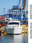white motor yacht over harbor... | Shutterstock . vector #186255182