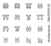 friendship and love line icons...   Shutterstock .eps vector #1862593132