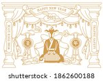 nostalgic new year's card... | Shutterstock .eps vector #1862600188