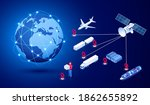 isometric global logistics... | Shutterstock .eps vector #1862655892