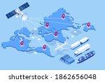 isometric global logistics... | Shutterstock .eps vector #1862656048